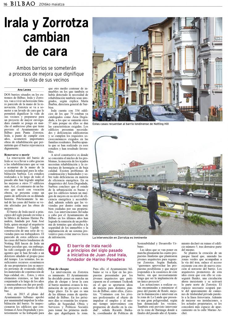 Recortes sobre Irala y Ametzola en el periódico Bilbao