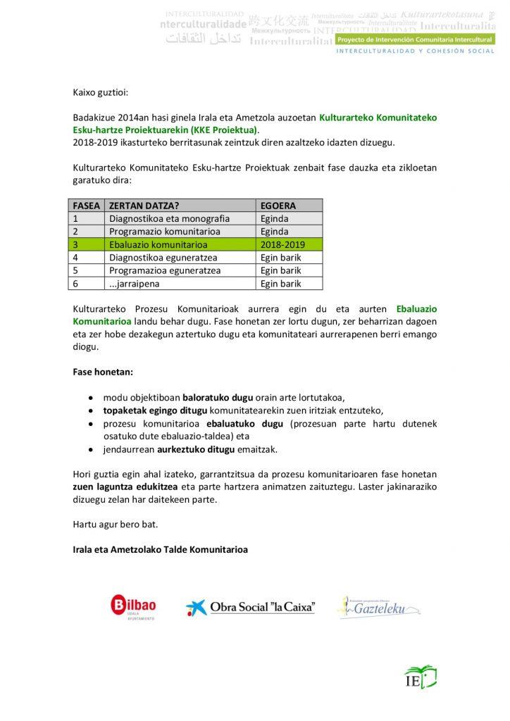 Ebaluazio Komunitarioa / Evaluación Comunitaria